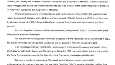 Photo of Menos asesinatos, más robos y asaltos agravados durante el 2017 en Memphis