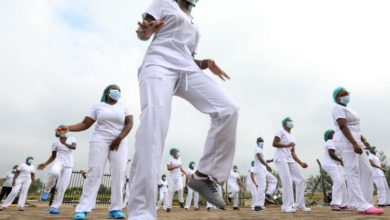 Photo of Kenyan frontline Nurses hold Zumba training session