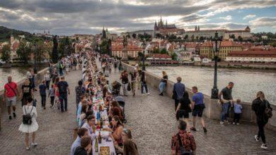 Photo of Prague farewells COVID-19 with communal dinner spanning Charles Bridge