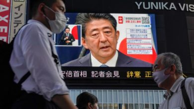 Photo of Japan's prime minister stepping down over health problems