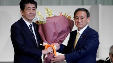 Photo of Yoshihide Suga elected leader of Japan's ruling party