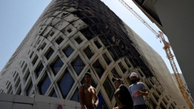 Photo of Zaha Hadid's building catches fire in Beirut