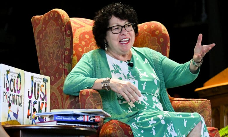"""U.S. Supreme Court Justice Sonia Sotomayor addresses attendees of an event promoting her new children's book """"Just Ask!"""" in Decatur, Ga., Sunday, Sept. 1, 2019. (AP Photo/John Amis)"""